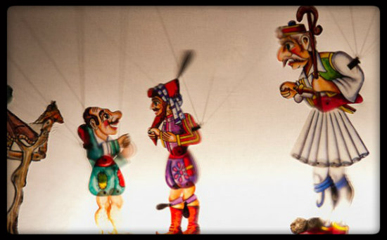 Представление традиционного театра теней в Салониках